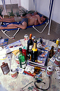 The morning after the night before two men try to get some sleep, Ibiza 2000's.