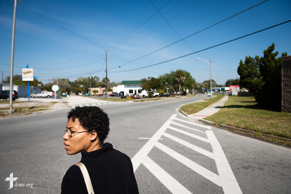 Jenny walks to a local store near Redeeming Life Maternity Home on Thursday, Feb. 12, 2015, in Sanford, Fla. The Christ-centered home of Redeeming Life Outreach Ministries is a safe haven for single women in crisis pregnancy. LCMS Communications/Erik M. Lunsford