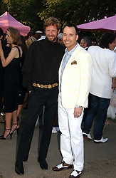 Left to right, STEFANO PILATI and DAVID FURNISH at the Serpentine Gallery Summer party sponsored by Yves Saint Laurent held at the Serpentine Gallery, Kensington Gardens, London W2 on 11th July 2006.<br />