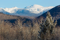 Mount Washington as seen from New Hampshire's Crawford Notch State Park. Winter.