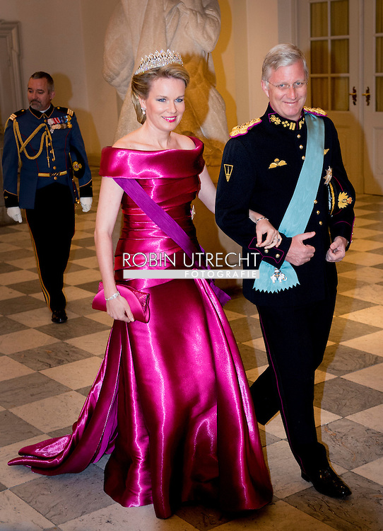 15-4-2015 - COPENHAGEN - King Filip and Queen Mathilde of Belgium at the Christiansborg Palace for a diner  , attent the 75 th Birthday celebration of of Queen Margrethe II . COPYRIGHT ROBIN UTRECHT