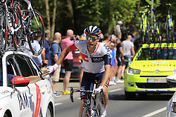 Lawrence Warbasse (USA) IAM Cycling on water bottle duty as the riders pass Grebbeberg Military Cemetery on the route of Stage 2 of the 2016 Giro d'Italia running 190km from Arnhem to Nijmegen, The Nethrerlands. 7th May 2016.<br /> Picture: Eoin Clarke | Newsfile<br /> <br /> <br /> All photos usage must carry mandatory copyright credit (© Newsfile | Eoin Clarke)