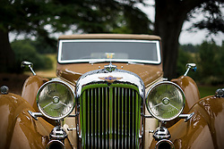 © Licensed to London News Pictures. 13/07/2015. Epsom, UK. Detail of a 1937 Lagonda LG45. The start of The Royal Automobile Club 1000 Mile Trial 2015 at Woodcote Park in Epsom, Surrey. The event, which starts and finishes at Woodcote Park, takes a fleet of over 40 classic cars from around the world, through a 1000 mile trial around the UK.  Photo credit: Ben Cawthra/LNP