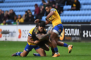 Wasps centre Malakai Fekitoa (13) spills possesion during during the Gallagher Premiership Rugby match between Wasps and Bath Rugby at the Ricoh Arena, Coventry, England on 2 November 2019.