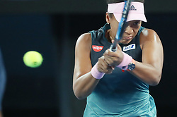January 26, 2019 - Melbourne, Australia - Naomi Osaka of Japan hits a return during the women's singles final match between Naomi Osaka of Japan and Petra Kvitova of the Czech Republic at 2019 Australian Open in Melbourne, Australia.. (Credit Image: © Bai Xuefei/Xinhua via ZUMA Wire)