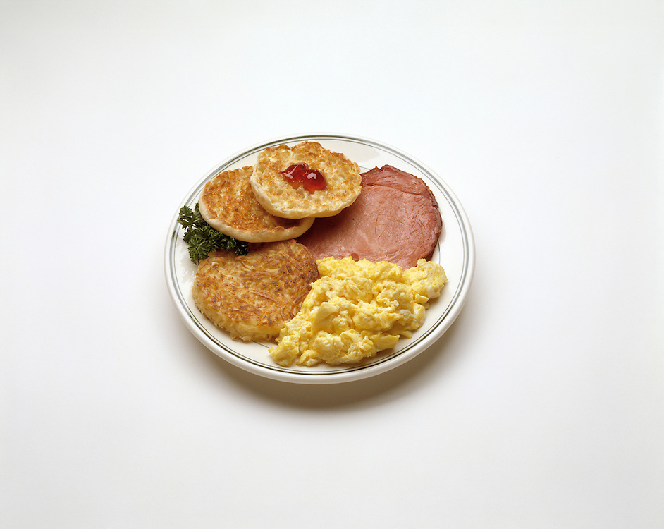 fast food heaarty breakfast scrambled eggs englich muffin ham steak hash brown potato potatoe home fry cuisine traditional american breakfast Bon Appetit concept conceptual metaphor lifestyle travel Dine Entertaining Entice Enticing Fed Feed Feeding Flavor Flavorful Foodshot Fragrant Haute Gourmet Gourmand Good Gratify Gratifying Grocery Healthfood Hospitable Hospitality Ingredient Lunch Market Munchy Marketplace Natural Organic Portion Pretty Produce Refresh Refreshing Satisfying Satisfaction Seasonal Serve Serving Smell Still life