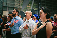 "Justine Lee, a native of South Korea, pledges allegiance to the United States of America during a naturalization ceremony held at Daley Plaza, which saw 56 candidates from 19 countries become citizens that mid-September day. Lee, who is married to an American citizen, said she wanted to become a naturalized citizen because, ""My life is here."" She registered to vote immediately following the ceremony and plans to vote in November. ""I'm included in this very important decision for the country, so I'm very honored,"" she said. 