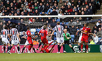 Photo: Mark Stephenson/Richard Lane Photography. <br /> West Bromwich Albion v Colchester United. Coca-Cola Championship. 29/03/2008. <br /> Colcherter's Chris Coyne ( ground ) scores for 1-0
