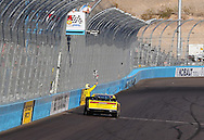 Nov. 12 2011; Avondale, AZ, USA; NASCAR Nationwide Series driver Sam Hornish Jr. celebrates after winning the Wypall 200 at Phoenix International Raceway. Mandatory Credit: Jennifer Stewart-US PRESSWIRE