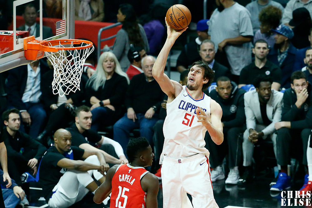 28 February 2018: LA Clippers center Boban Marjanovic (51) goes for the jump shot over Houston Rockets center Clint Capela (15) during the Houston Rockets 105-92 victory over the LA Clippers, at the Staples Center, Los Angeles, California, USA.