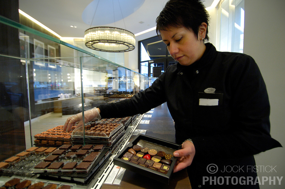 BRUSSELS, BELGIUM - JAN-13-2006 -  A  designer assortment of Pierre Marcolini chocolates. (PHOTO © JOCK FISTICK)