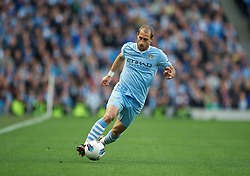 MANCHESTER, ENGLAND - Monday, April 30, 2012: Manchester City's Pablo Zabaleta in action against Manchester United during the Premiership match at the City of Manchester Stadium. (Pic by Chris Brunskill/Propaganda)