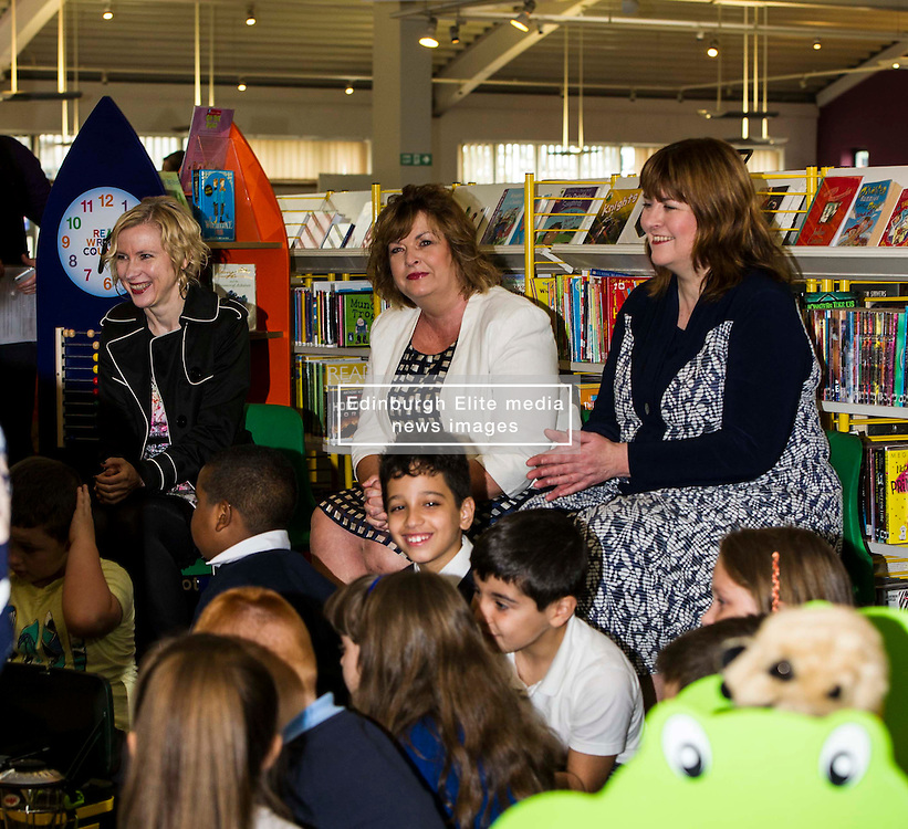 Pictured: Evelyn Kilmurray, Library and information manager, Fiona Hyslop and Pamela Tulloch, Chief Executive of SLIC<br /> Culture Secretary Fiona Hyslop MSP visited Wester Hailes Library in Edinburgh today to meet primary-school pupils and Edinburgh City Council officials  to announce libraries support package<br /> <br /> Ger Harley   EEm 7 September 2016