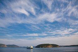 North America, United States, Washington, San Juan Islands,  ferry boat and islands