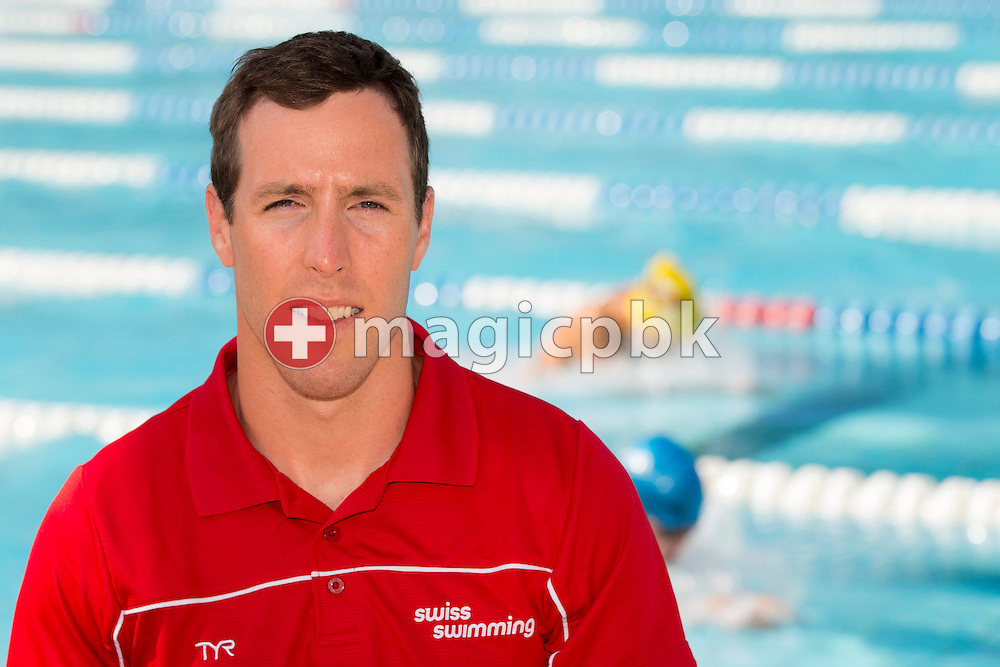 Coach Nicolas MESSER of Switzerland poses for a portrait photo during the Swiss Swimming Summer Championships held at the 50m outdoor pool at the Centro sportivo nazionale della gioventu in Tenero, Switzerland, Sunday, July 6, 2014. (Photo by Patrick B. Kraemer / MAGICPBK)