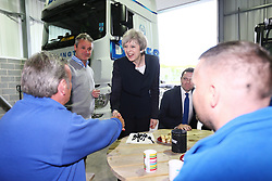 © Licensed to London News Pictures. 12/05/2017. Darlington, UK. Prime Minister Theresa May during a visit to Davies Transport Ltd, a delivery company in Darlington, County Durham, while on the General Election campaign trail. Photo credit: Andrew McCaren/LNP