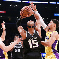 09 January 2018: Sacramento Kings guard Vince Carter (15) looks to pass the ball between Los Angeles Lakers guard Lonzo Ball (2) and Los Angeles Lakers guard Josh Hart (5) during the LA Lakers 99-86 victory over the Sacramento Kings, at the Staples Center, Los Angeles, California, USA.
