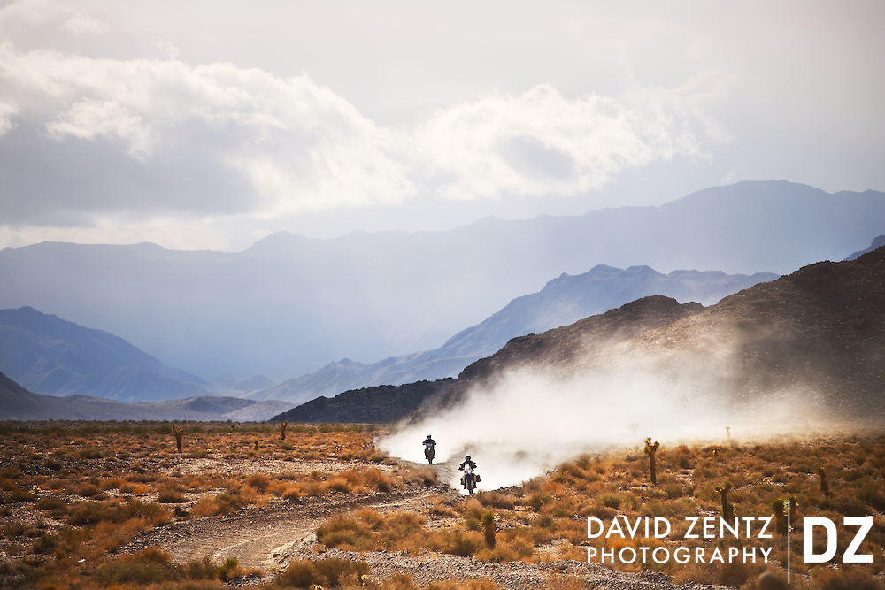 Dirt bike riders make their way along Racetrack Rd., a washboard dirt road leading to the Racetrack lake bed in Death Valley National Park, Calif., on Dec. 2, 2012.