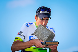 Winner Mathew Hayman (AUS) Orica GreenEDGE with the trophy on the podium in Roubaix Velodrome at the end of the 114th edition of  Paris Roubaix 2016 race running 255.5km from Compiegne to Roubaix, France. 10th April 2016.<br /> Photo by Eoin Clarke / PelotonPhotos.com<br /> <br /> All photos usage must carry mandatory copyright credit (&copy; Peloton Photos | Newsfile | Eoin Clarke)