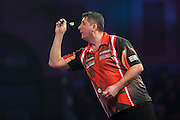 Mensur Suljovic during the William Hill World Darts Championship at Alexandra Palace, London, United Kingdom on 27 December 2016. Photo by Shane Healey.