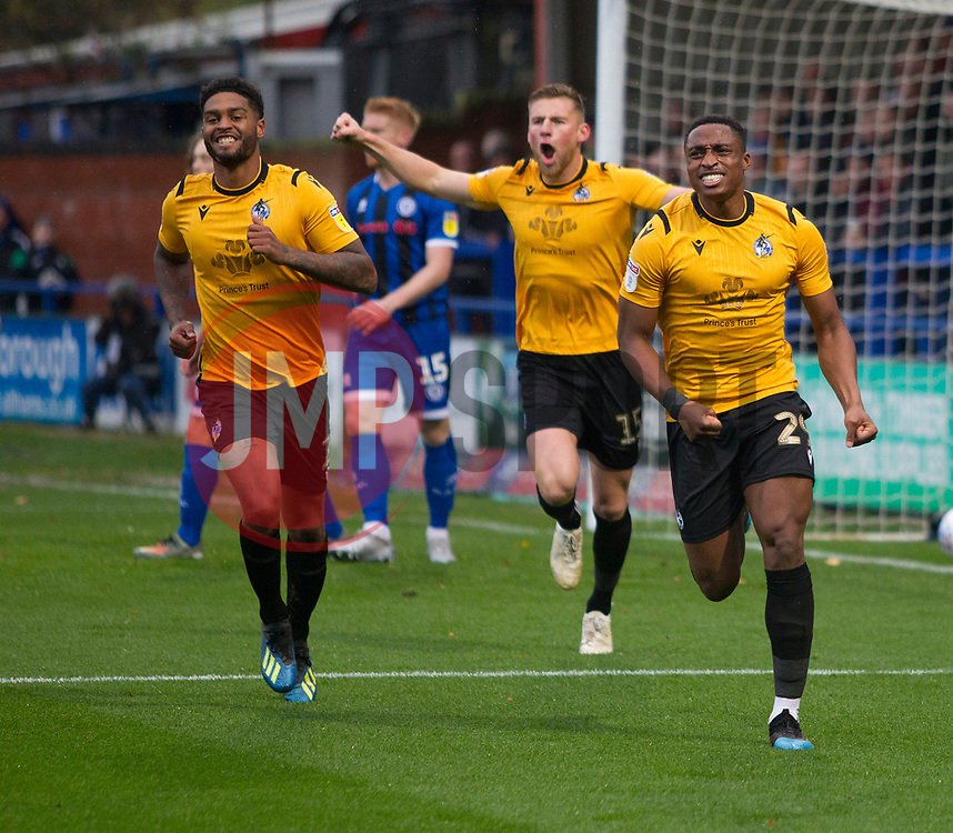 Victor Adeboyejo of Bristol Rovers (R) celebrates after scoring his sides first goal - Mandatory by-line: Jack Phillips/JMP - 02/11/2019 - FOOTBALL - Crown Oil Arena - Rochdale, England - Rochdale v Bristol Rovers - English Football League One