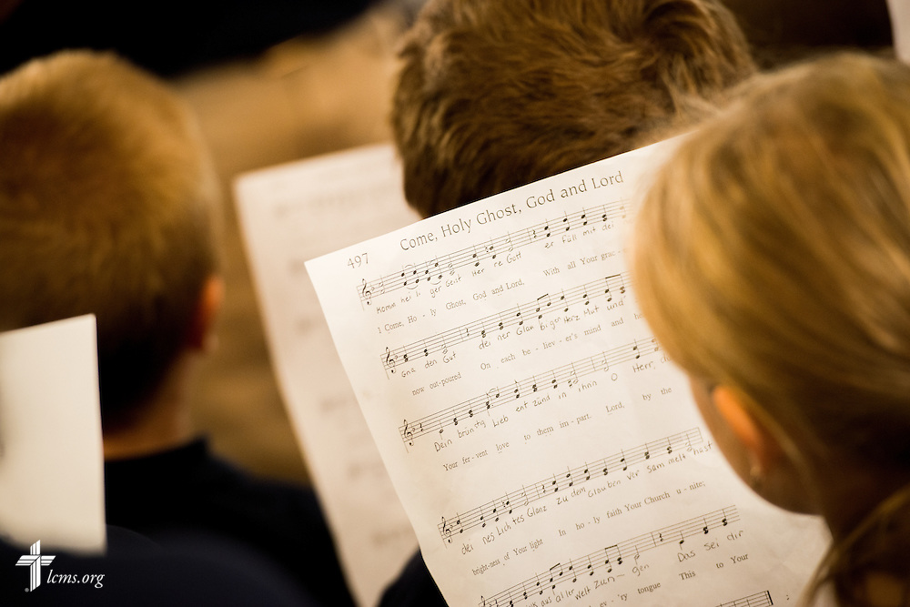 Children sing during a Divine Service of Rededication at St. Paul Lutheran Church in Hamel, Ill., on Sunday, Sept. 7, 2014. LCMS Communications/Erik M. Lunsford