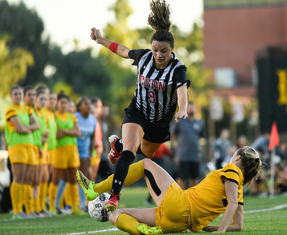 The Big West Soccer Tournament in Long Beach, CA on 11/3/2016 saw competition between CSUN and Long Beach as well as action between UC Irvine and Cal State Fullerton.<br /> <br /> Photos by Debbi Conon, Sports Shooter Academy