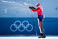 February 5, 2018 - Pyeongchang, SOUTH KOREA - 180205 Ingvild Flugstad ¯stberg of Norway passes a banner with the Olympic Rings upside down during a training session on February 5, 2018 in Pyeongchang..Photo: Jon Olav Nesvold / BILDBYRN / kod JE / 160136 (Credit Image: © Jon Olav Nesvold/Bildbyran via ZUMA Press)