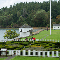 The grounds of English Camp, part of San Juan Island National Historical Park, on San Juan Island in the San Juan Islands of Washington State.