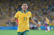 Massimo Luongo of Australia celebrates scoring the opening goal against the Korea Republic during the AFC Asian Cup match at Stadium Australia, Sydney<br /> Picture by Steven Gibson/Focus Images Ltd +61 413 768835<br /> 31/01/2015