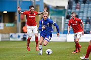 Gillingham midfielder Josh Wright breaks free and runs with the ball towards the penalty area during the Sky Bet League 1 match between Gillingham and Coventry City at the MEMS Priestfield Stadium, Gillingham, England on 2 April 2016. Photo by David Charbit.