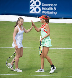 LIVERPOOL, ENGLAND - Wednesday, June 20, 2012: Alexander Borg (NOR) and Belinda Bencic (CHE) play an exhibition women's doubles match during a kids' day at the Medicash Liverpool International Tennis Tournament at Calderstones Park. (Pic by David Rawcliffe/Propaganda)