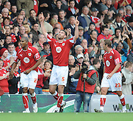 Bristol - Saturday, October 18th, 2008: Jamie McCombe of Bristol City celebrates his goal during the Coca Cola Championship match at Ashton Gate, Bristol. (Pic by Alex Broadway/Focus Images)