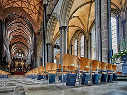 Stunning Gothic interior of the Salisbury Cathedral.<br />