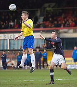 Greenock Morton's Kevin Rutkiewicz heads clear as Dundee's Colin Nish  watches - Dundee v Greenock Morton, William Hill Scottish Cup 5th Round at Dens Park .. - © David Young - www.davidyoungphoto.co.uk - email: davidyoungphoto@gmail.com