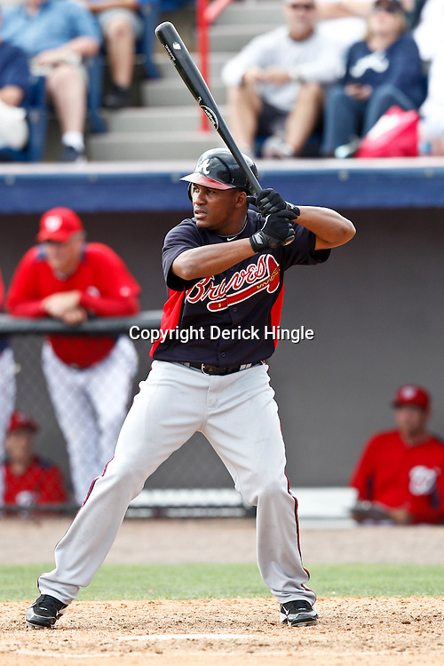 March 4, 2011; Viera, FL, USA; Atlanta Braves outfielder Jose Constanza (78) during a spring training exhibition game against the Washington Nationals at Space Coast Stadium.  Mandatory Credit: Derick E. Hingle