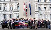 UNITED KINGDOM, London: 05 January 2016 Army veterans stand next to The Cenotaph on Whitehall this morning in protest against the governments decision to investigate possible human rights abuses of the British Military in Iraq. Veterans gathered in Whitehall Gardens and marched to 10 Downing Street.  Rick Findler / Story