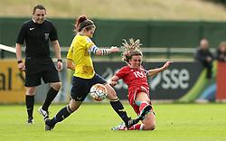 Jodie Brett of Bristol City Women tackles Lauren Haynes of Oxford United - Mandatory by-line: Robbie Stephenson/JMP - 25/06/2016 - FOOTBALL - Stoke Gifford Stadium - Bristol, England - Bristol City Women v Oxford United Women - FA Women's Super League 2