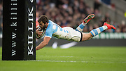 Twickenham, United Kingdom, Ramiro MOYANO, diving in the score a first half try, during the Killik Cup Match, Barbarians vs Argentina, RFU Stadium, Twickenham, England,<br /> <br /> Saturday    21/11/2015  <br /> <br /> [Mandatory Credit; Peter Spurrier/Intersport-images]