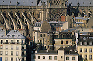 France. Paris. 4th district. Elevated view.  notre dame cathedral, city island view  from Saint Gervais Saint Protee church