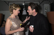 Actor Robert Downey Jnr with Talk magazine editor Tina Brown. at the  Talk pre-Golden Globes party at the Mondrian Hotel. 20 January 2001. © Copyright Photograph by Dafydd Jones 66 Stockwell Park Rd. London SW9 0DA Tel 020 7733 0108 www.dafjones.com.  Contact: Lisa Dallos @ Talk Magazine...212-641-3582
