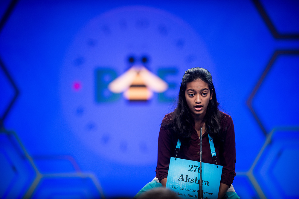 Akshra Paimagam, 14, from Charlotte, N.C., participates in the finals of the 2017 Scripps National Spelling Bee on Thursday, June 1, 2017 at the Gaylord National Resort and Convention Center at National Harbor in Oxon Hill, Md.      Photo by Pete Marovich/UPI