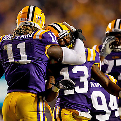 November 13, 2010; Baton Rouge, LA, USA; LSU Tigers cornerback Ron Brooks (13) celebrates with linebacker Kelvin Sheppard (11) following an interception return for a touchdown during the first half against the Louisiana Monroe Warhawks at Tiger Stadium.  Mandatory Credit: Derick E. Hingle