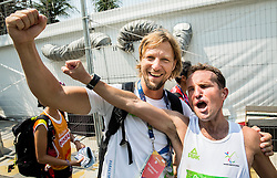Blind Sandi Novak of Slovenia with Primoz Cernilec celebrate at finish area of the Men's Marathon - T12 Final during Day 11 of the Rio 2016 Summer Paralympics Games on September 18, 2016 in Copacabana beach, Rio de Janeiro, Brazil. Photo by Vid Ponikvar / Sportida