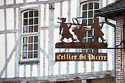 Cellier St Pierre and traditional medieval timber-frame architecture in Place Saint Pierre at Troyes in Champagne-Ardenne region of France