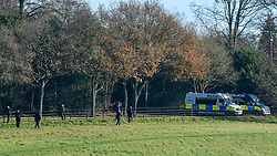 © Licensed to London News Pictures. 02/12/2019. WATFORD, UK. A police search team conducts a review of the grounds at The Grove Hotel in Chandler's Cross, ahead of the NATO Summit which will be attended by heads of state and government.  The main NATO leaders' meeting takes place on 4 December.  Donald Trump, President of the United States, who will be one of the leaders attending, will also be one of the guests at a reception at Buckingham Palace on 3 December.  Photo credit: Stephen Chung/LNP