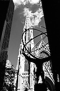 Manhattan, on 5th Avenue at Rockefeller Center in front of Saint Patrick's Cathedral is a statue of Hercules cradling the world on his shoulders.