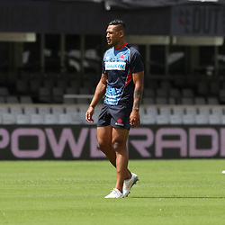 Israel Folau of the NSW Waratahs during the NSW Waratahs Cap Run at  Growthpoint Kings Park Durban , South Africa. March 9th 2017(Photo by Steve Haag)<br /> <br /> images for social media must have consent from Steve Haag