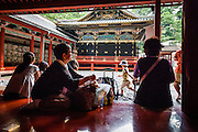 JAPAN, NIKKO - August 2012 - Toshogu Shrine is where the famous Shogun of the Edo Period in the 17th century, Tokugawa Ieyasu, was worshiped after his death. It became as luxurious and elaborate as it looks today when the grandson of Ieyasu, the third Shogun Tokugawa Iemitsu, reconstructed it. The engravings on the Yomei-mon Gate are especially overwhelming, provided with every luxury imaginable and redolent in gorgeous colors. site calssified as Japanese Cultural property and world heritage by UNESCO [FR] Sanctuaire Toshogu - Construit en 1636 à la mémoire de Ieyasu, fondateur du shogunat Tokugawa. Contrairement aux autres sanctuaires shinto, caractérisés par une architecture épurée se fondant dans le paysage environnant, ce sanctuaire est une exubérance de couleurs, d'applications de feuilles d'or et de sculptures en tous genres.Site classé propriete culturelle du Japon et patrimoine mondial de l'UNESCO
