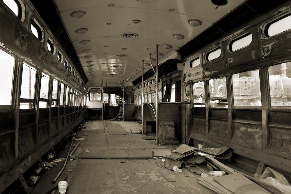 The inside of an old trolley car that once served most of Brooklyn into the 1950s. Most were sold to Philadelphia, where some are still in service. I last rode one of these cars as a child to Coney Island via Mac Donald Avenue in Brooklyn. Probably until 1958 or 1959.